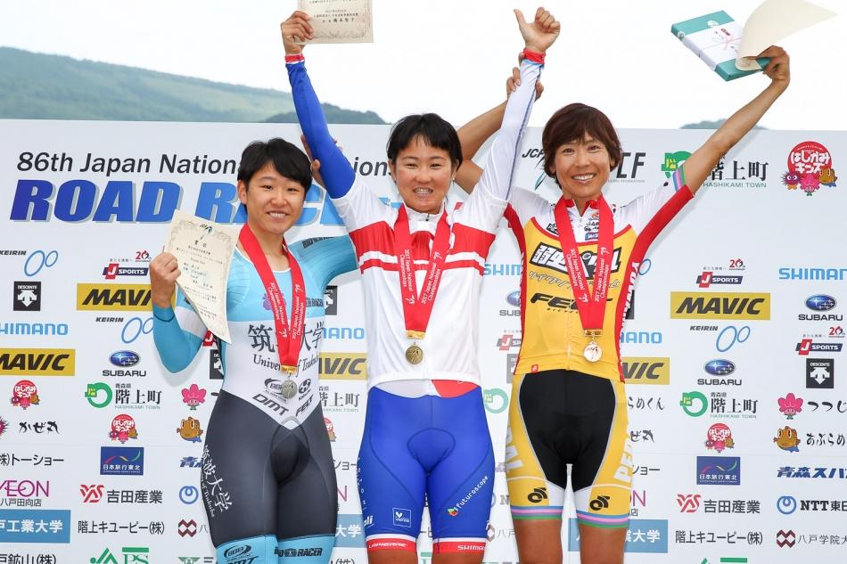 全日本自転車競技選手権ロードレース大会タイムトライアル 唐見実世子(弱虫ペダルサイクリングチーム)が3位